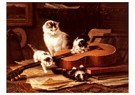 H. Ronner-Knip (1821-1909)  -  Playing with the guitar - Wenskaarten-set -  QA391-1