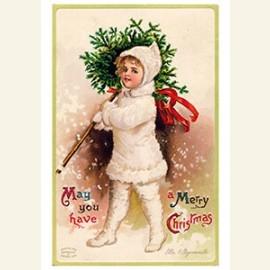 Meisje met kerstboom in haar hand