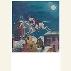 Sinterklaas maakt een sprong met zijn paard