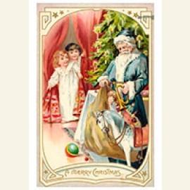 Kinderen komen de kamer binnen en zien de kerstman