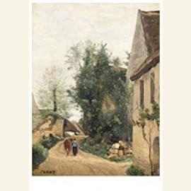 Auvers, Une Rue De Village Avec Une Paysanne Et Sa Vache