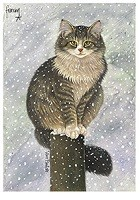 Francien van Westering (1951) - Max in sneeuw - christmas card