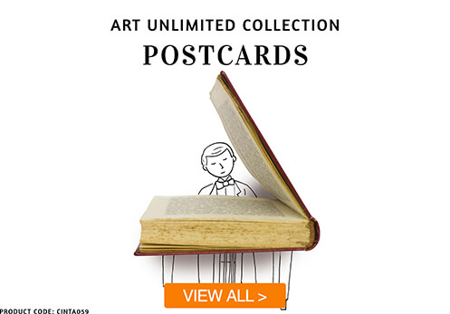 art unlimited postcards with button