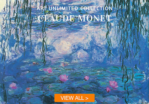 claude monet cards with button
